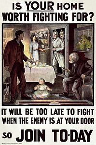 Irish WWI poster - Is Your Home Worth Fighting For? - Hely's Limited, Litho, Dublin.jpg