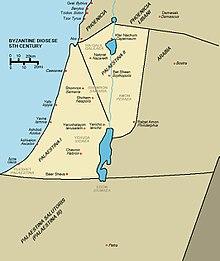 Le province bizantine di Palestina Prima, Palestina Secunda e Palestina Salutaris nel V secolo d.C.