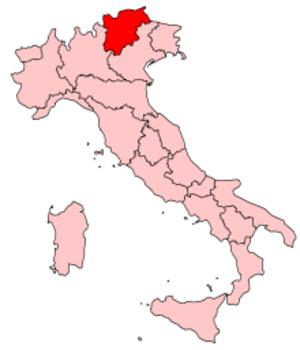 Music of Trentino-Alto Adige/Südtirol - Image: Italy Regions Trentino Map