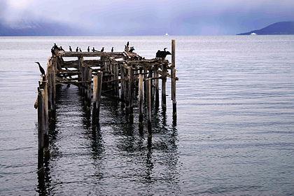 Molo ve vsi Jøvik, oblast Tromsø, Norsko