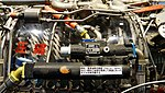 J79-IHI-11A turbojet engine(cutaway model) fuel oil cooler left side view at JASDF Hamamatsu Air Base Publication Center November 24, 2014.jpg