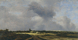 painting of a city in the distance under a big sky