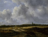 Jacob van Ruisdael - Extensive field landscape with a track and a church in the distance.jpg