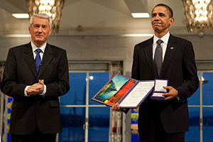 2009 Nobel Peace Prize - Barack Obama with Thorbjørn Jagland at the 2009 Nobel Peace Prize ceremony.