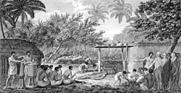 James Cook, English navigator, witnessing human sacrifice in Taihiti (Otaheite) c. 1773