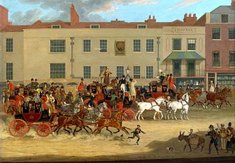 A1 in London - The Peacock Inn by James Pollard, one of several travellers' inns that were on Islington High Street from the 16th to 19th centuries