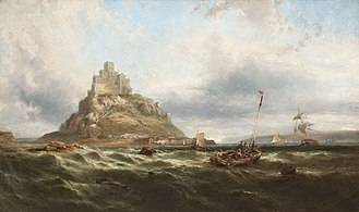 St Michael's Mount - Painting by British painter James Webb in the 1890s