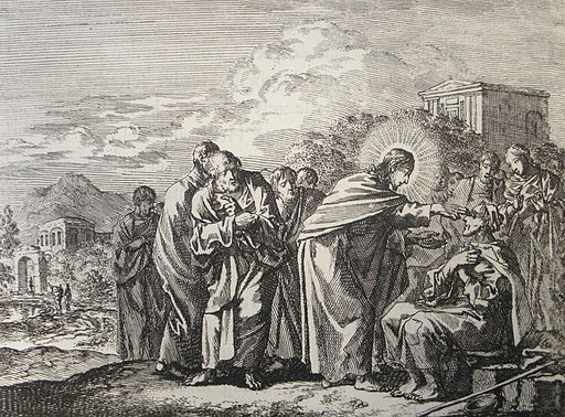 Jan Luyken's Jesus 14. Healing of a Man Born Blind. Phillip Medhurst Collection