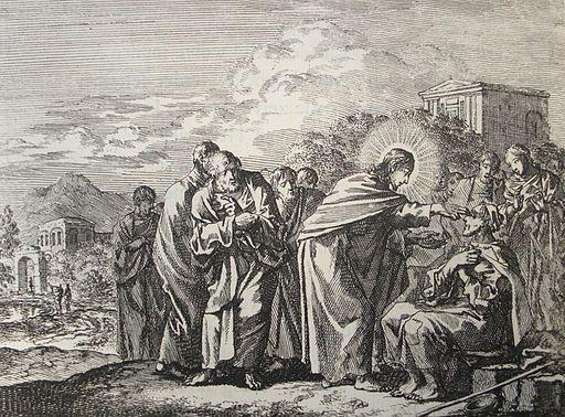 Jan Luyken's Jesus 14. Healing of a Man Born Blind. Phillip Medhurst Collection