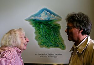 Jane Jacobs - Jacobs with Ecotrust foreman Spencer Beebe in Portland, Oregon, 2004