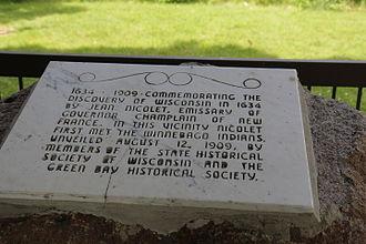 Jean Nicolet - 1909 plaque commemorating Jean Nicolet's landing near Red Bank, Wisconsin.