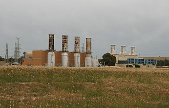 Jeeralang Power Station - Four turbines of Jeeralang A to left, three turbines of Jeeralang B to right.