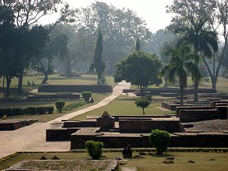 The remains of a section of Jetavana Monastery, just outside of ancient Savatthi, in Uttar Pradesh. Jetavana.jpg