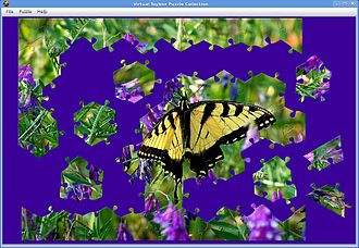Jigsaw puzzle - Jigsaw puzzle software allowing rotation of pieces.