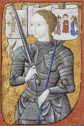 Joan of Arc in a 15th-century depiction Joan of Arc miniature graded.jpg