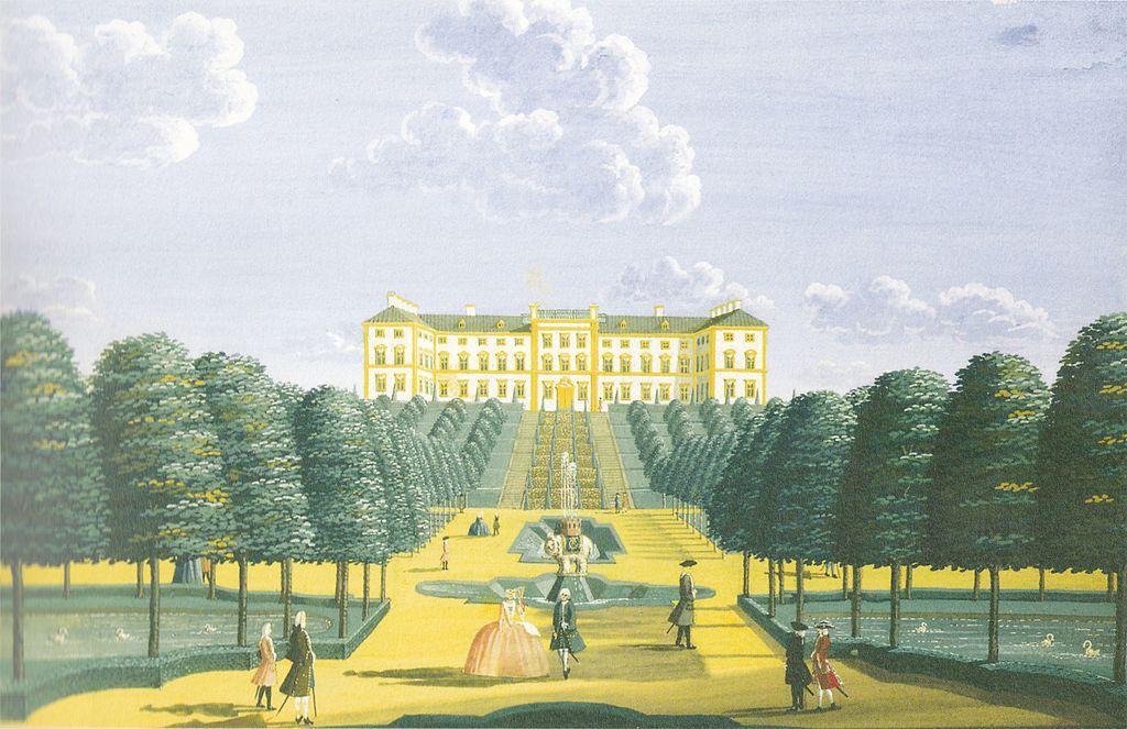 Vue sur le chateau de Frederiksberg à Copenhague en 1740.
