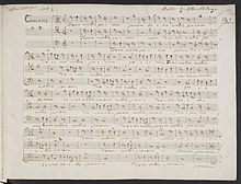 A folio from VII Canoni a piu voci in partitura, by Albrechtsberger, written in his own hand. (Source: Wikimedia)