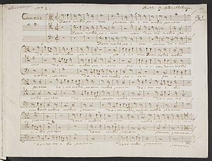 Johann Georg Albrechtsberger - A folio from VII Canoni a piu voci in partitura, by Albrechtsberger, written in his own hand.