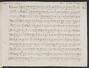 Johann Georg Albrechtsberger - A folio from VII Canoni a piu voci in partitura, by Albrechtsberger, written in his own hand.