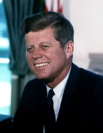 John F. Kennedy, 35th President of the United States (1961-1963) John F. Kennedy, White House color photo portrait.jpg