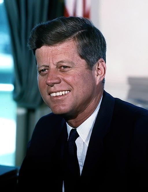John F. Kennedy, White House color photo portrait