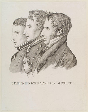 John Hely-Hutchinson, 3rd Earl of Donoughmore - Lord Donoughmore to the left of the picture, with Sir Robert Thomas Wilson and Michael Bruce.