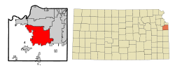 Johnson County Kansas Incorporated and Unincorporated areas Olathe Highlighted.svg
