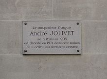 Placa commemorativa al carrer on va morir André Jolivet