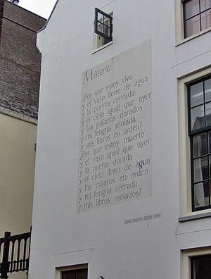 Jorge Eielson - Eielson's poem Misterio on a house wall in Leiden, The Netherlands
