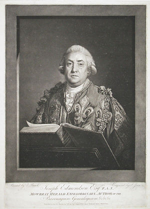 Joseph Edmondson - Joseph Edmondson wearing  his herald's tabard and Collar of SS, mezzotint by John Jones, from a painting by Thomas Beach