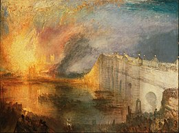 Joseph Mallord William Turner, English - The Burning of the Houses of Lords and Commons, October 16, 1834 - Google Art Project.jpg