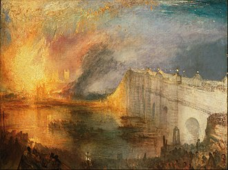 Palace of Westminster - J. M. W. Turner watched the fire of 1834 and painted several canvasses depicting it, including The Burning of the Houses of Lords and Commons (1835).