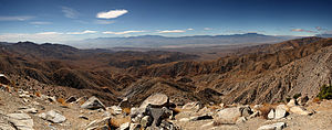 Desert Magazine - Desert panorama: view of Mojave Desert and Joshua Tree National Park.