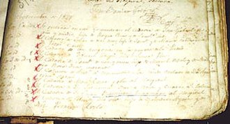 Inca plan - Records of the Recoleta Cemetery about the burial of Juan Baustista Túpac Amaru, proposed as King of the United Provinces of South America.