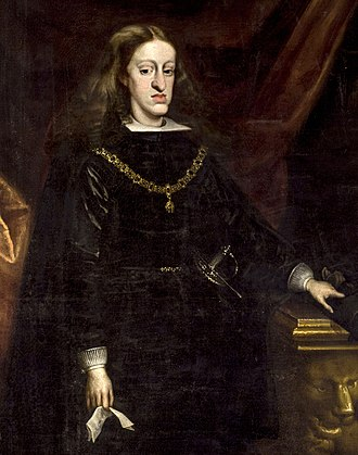 Charles II of Spain - Portrait by Juan Carreño de Miranda, c. 1685; notice the Habsburg lip on the King