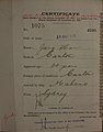 Jung Har Auckland Chinese poll tax certificate butts Certificate issued at Auckland.jpg