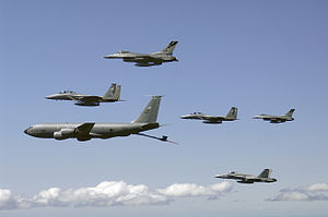 KC-135E Washington ANG refuels fighters 2007.jpg