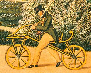 Karl Drais - Karl von Drais on his original Laufmaschine, the earliest two-wheeler, in 1819