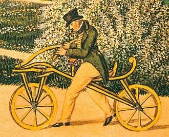 Karl Drais - Karl von Drais on his original Laufmaschine, the earliest two-wheeler, in 1819