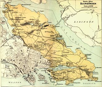 Djurgården - Map of northern and southern Djurgården in 1907, showing the extent of the area.