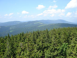 Silesian Beskids - View of Skrzyczne from the watchtower on Barania Góra