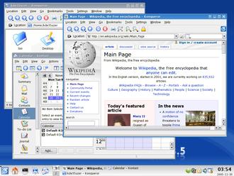 Menu bar - Screenshot of KDE 3.5 showing multiple menu bars