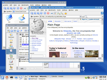 A screenshot of KDE 3.5 running the Kontact personal information manager and Konqueror file manager