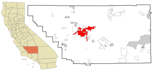 Kern County California Incorporated and Unincorporated areas Bakersfield Highlighted.svg