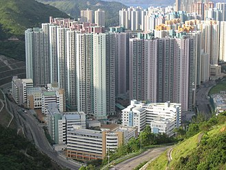 Public housing in Hong Kong - Kin Ming Estate, completed in 2003 in Tseung Kwan O, consists of 10 housing blocks of New Harmony I design, housing about 22,000 people.