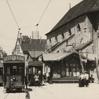 Public transport in the Lausanne Region - Lausanne tram at the Saint-François stop, wither 1896 or 1897.