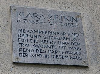 Clara Zetkin - A plaque commemorating where Clara Zetkin once lived in Jena, Germany