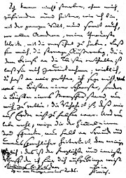 The German poet Heinrich von Kleist's suicide note from 1811 is a farewell letter to his sister Ulrike.