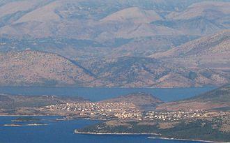 Sarandë District - Lake Butrint and the village of Ksamil south of Sarandë seen from the Greek island Corfu
