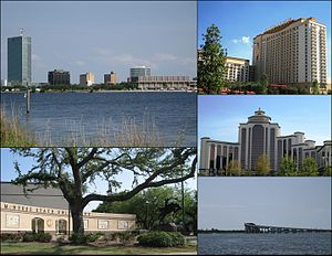 Clockwise frae left: Ceety centre skyline; Golden Nugget Casino; L'Auberge du Lac Casino; Israel LaFleur Bridge; McNeese State University entrance plaza.